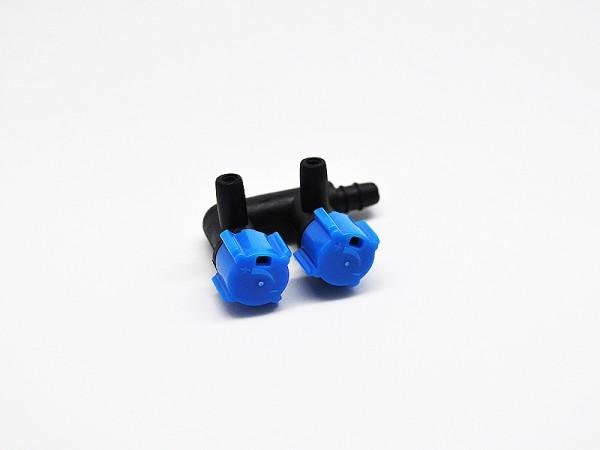 Lufthahn 2 fach für 4/6 Luftschlauch Kunststoff